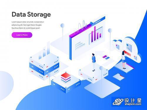 Data Storage Isometric Illustration Concept 科学大数据储存等距插画