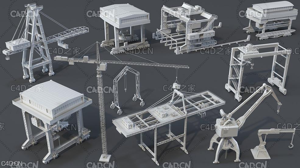 11个起重机模型 建筑起重机3D模型 Cranes – 11 pieces by Armen Manukyan-3D模型