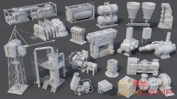 工程管道部件3D模型 Artstation – Factory Units 8 and Industrial Pipes