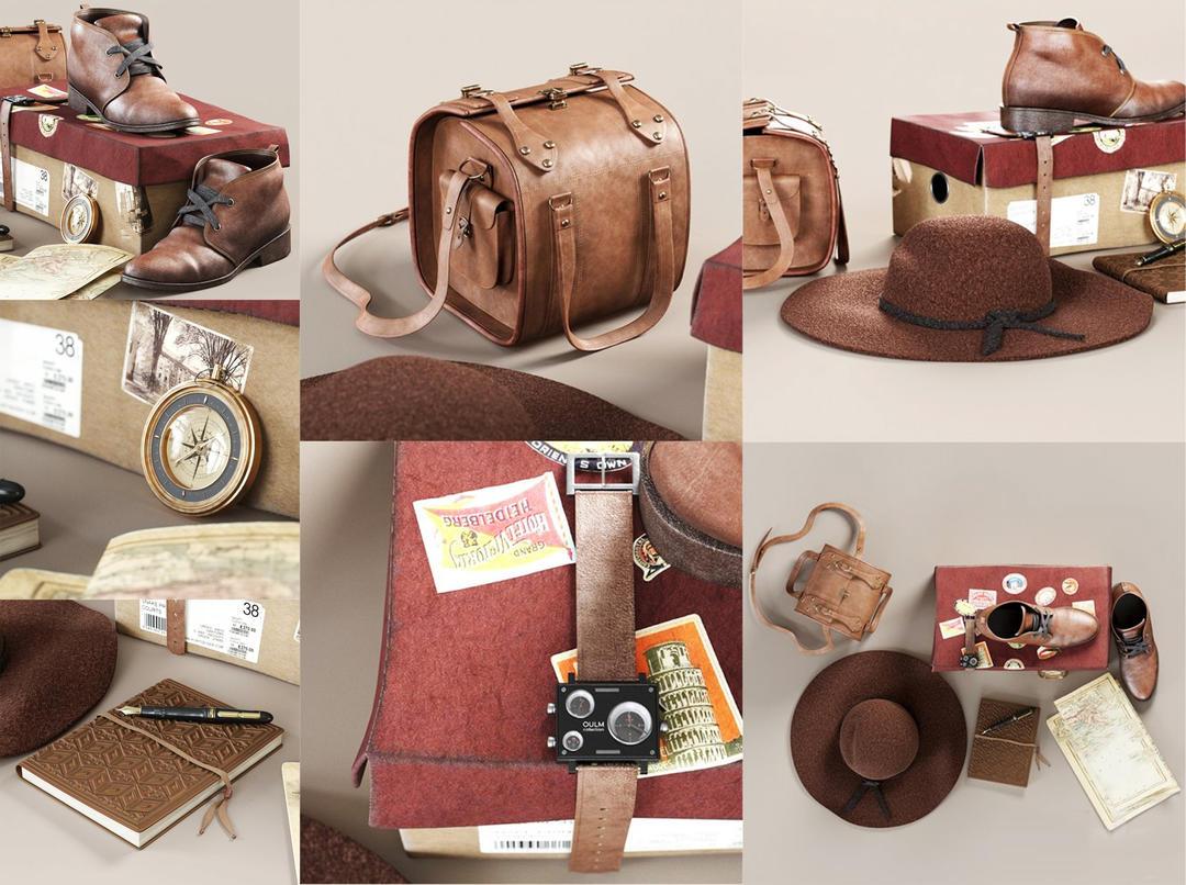 旅行行李穿搭服饰 皮鞋皮包模型 行李 帽子 笔记本 指南针 皮带 地图 照片