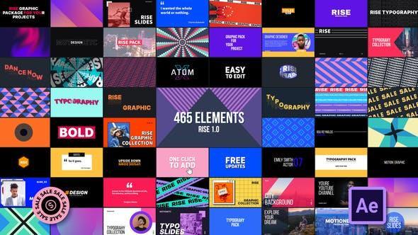 Graphics Pack | Rise 465组创意图形文字标题排版字幕条背景动画预设