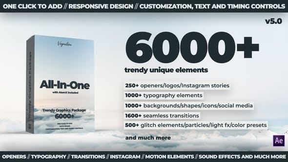 4300组扁平化文字标题背景字幕排版指示线Motion Graphics Pack 24321544 V4.1