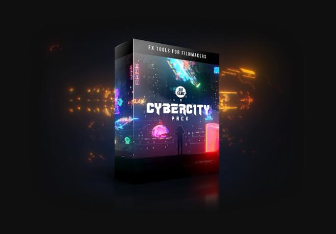 赛博朋克未来科技感科幻HUD霓虹灯牌特效合成视频素材 含透明通道Bigfilms CYBERCITY Pack (2K)
