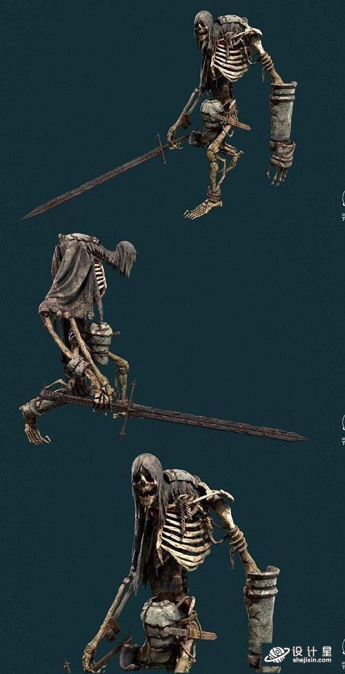 次世代骷髅战士 恶魔 骷髅剑 骷髅兵 怪物 盔甲 骷髅怪 亡灵 Boss 骷髅皇 骷髅王Ancient Skeleton Warrior 3D model