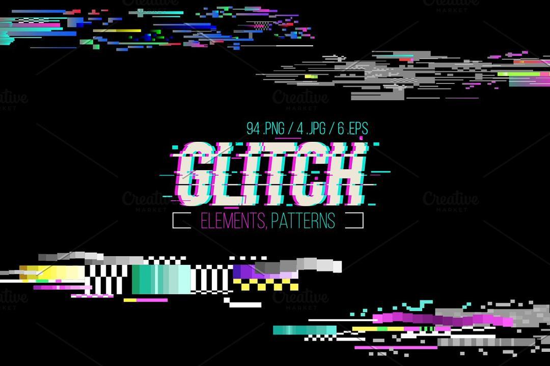 Glitch Elements and Patterns 2381739 故障风元素图案