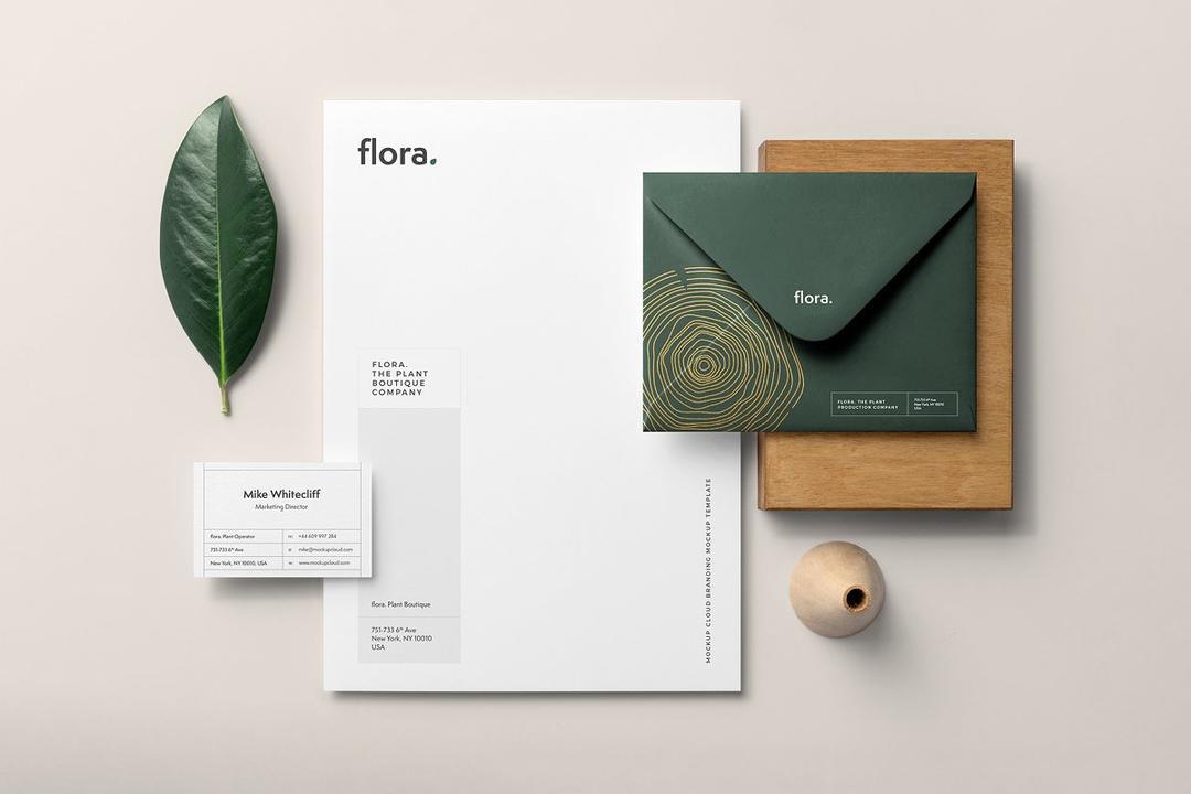 Flora Branding Mockup 4117037 鲜花店信封样机  绿植品牌样机