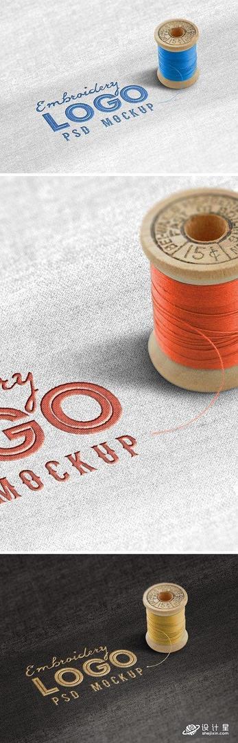 Fabric Embroidered Logo Mockup 面料刺绣徽标样机