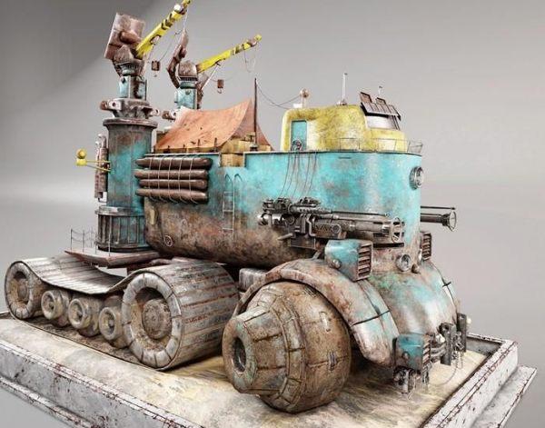 Post Apocalyptic Car PBR 次时代运输车 科幻朋克卡车 赛博朋克房车 移动城堡 移动房屋汽车