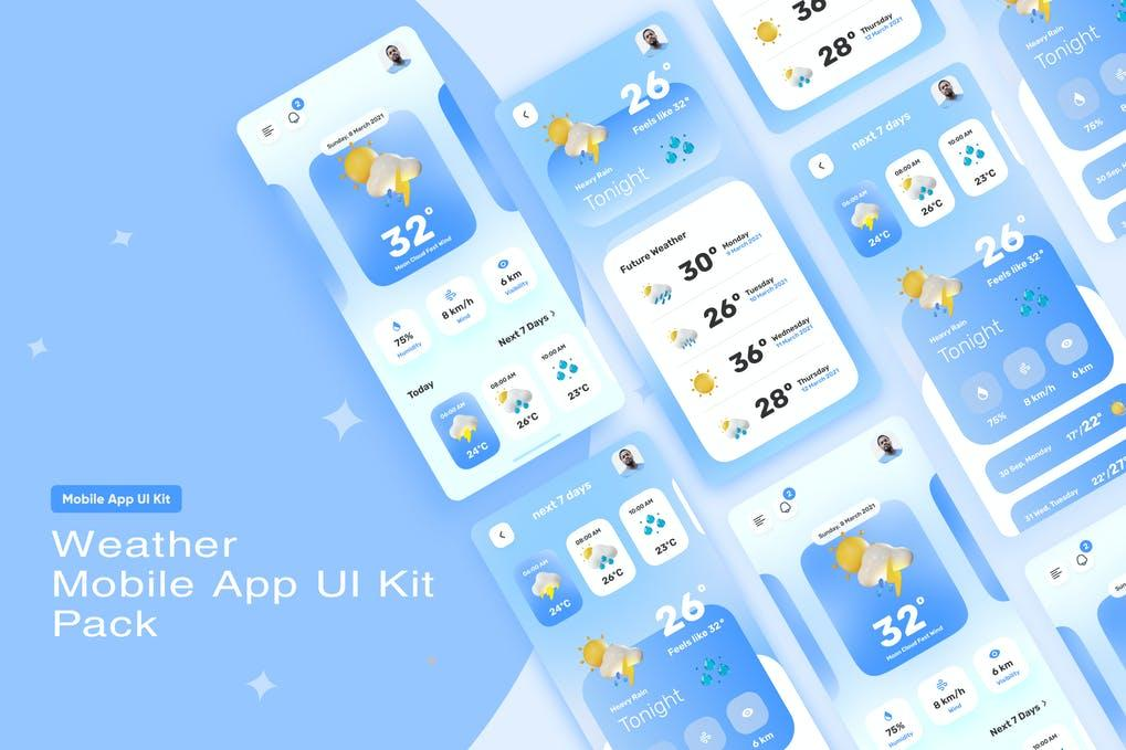 Weather Mobile App UI Kit 天气移动应用程序 UI 套件
