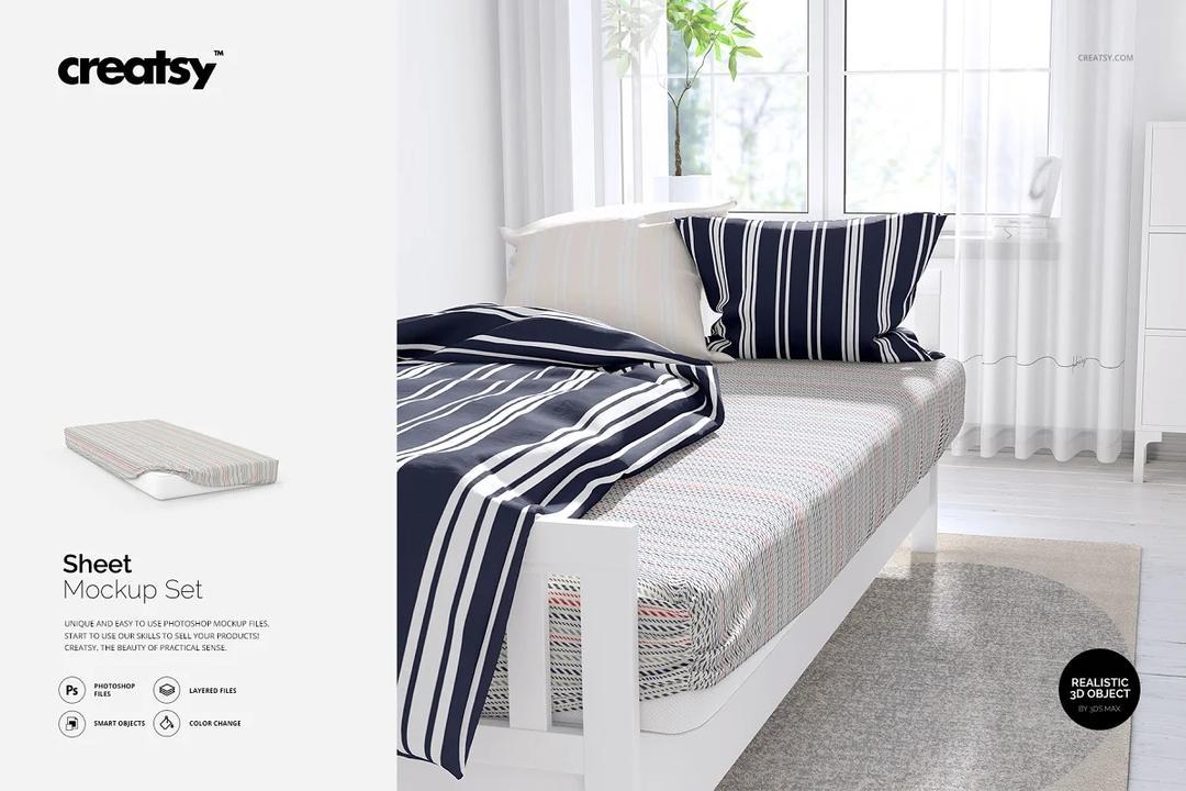 Bedroom Scene Sheet Mockup Set 卧室场景样机套装 床上用品场景样机