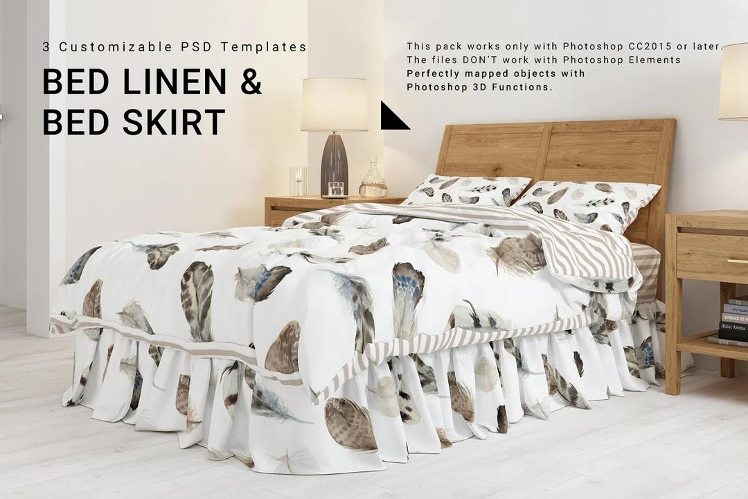 Bed Linen with Gathered Bed Skirt  床单样机
