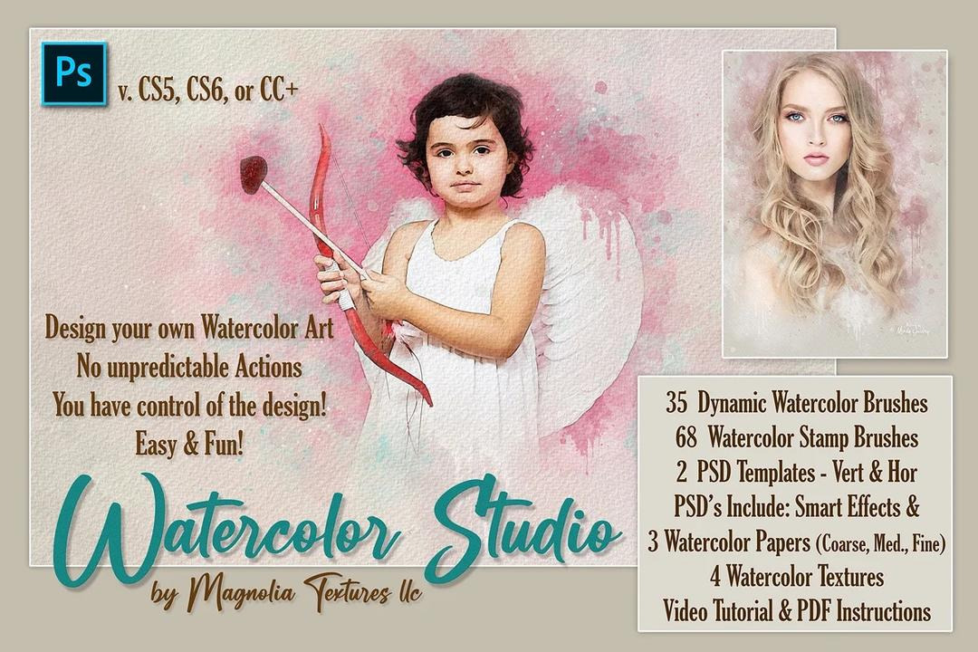 Watercolor Studio By Magnolia Textures, LLC 水彩笔刷