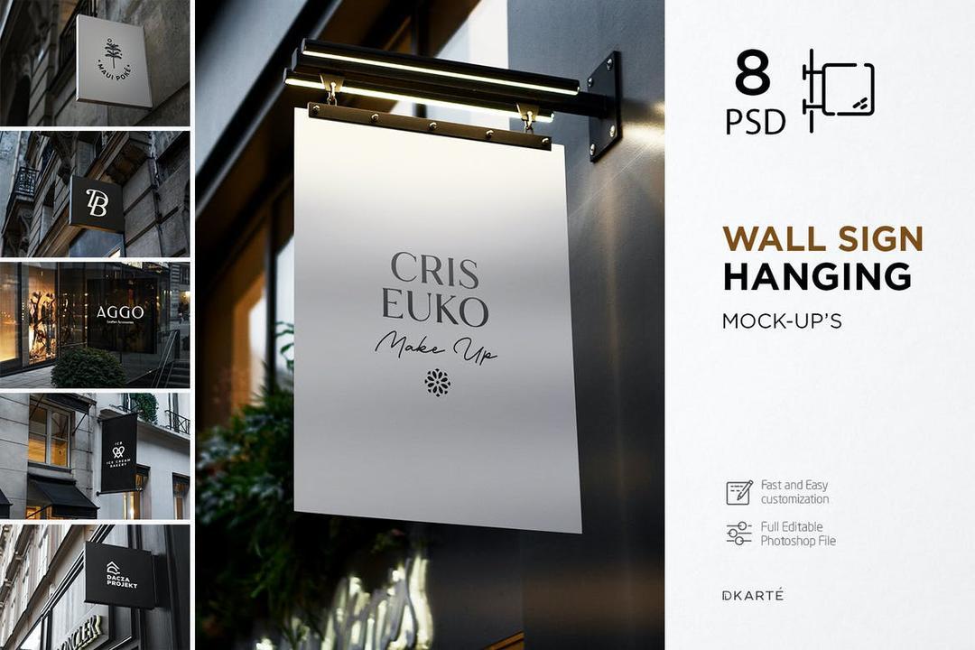 CreativeMarket - Wall Sign Hanging Mock-Up 4615739
