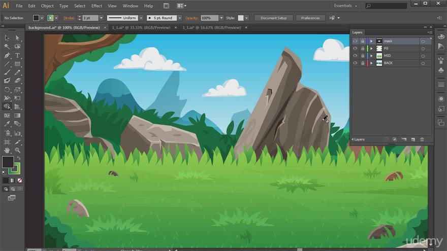 Udemy - 用 Adobe Illustrator 制作你自己的2D游戏背景