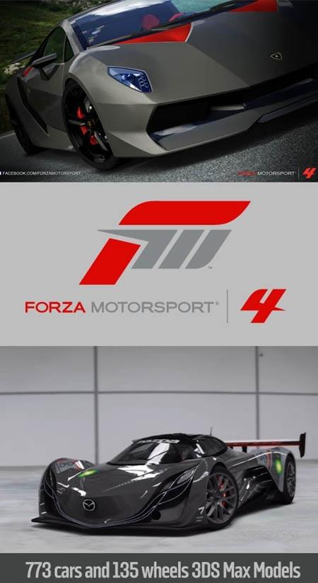 极限竞速3+4汽车模型完整收集3DMAX格式