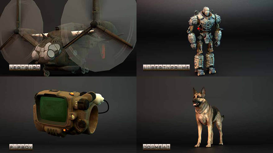 Fallout 4 - 4 model 辐射4的4个模型,vertbird, libertyprime, pipboy, dogmeat. ...
