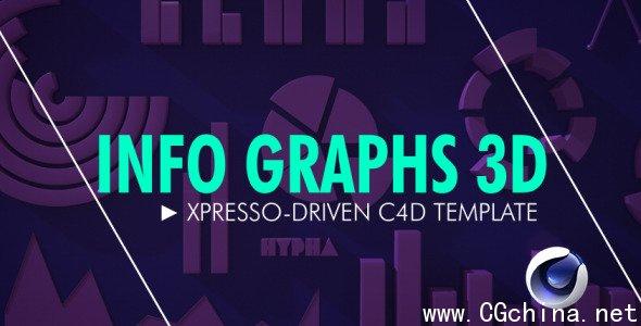 常用数据信息动态趋势动画C4D模板Info Graphs 3D