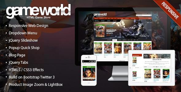 响应HTML主题 - GameWorld