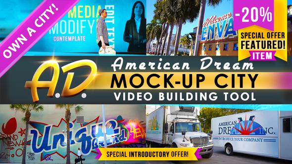 AD - City Titles Mockup Business Intro AE模板 现代城市场景跟踪户外广告标志模板