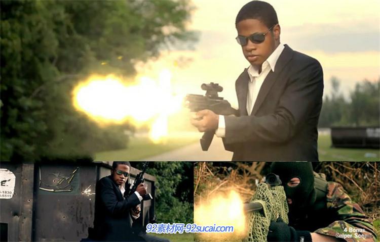 枪战动作电影子弹开枪爆炸特效高清视频素材+音效素材  影片特效视频音效素材动作爆炸合成制作素材资源