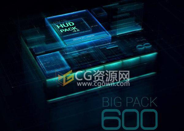 600组元素动画高科技UI全息信息HUD图表界面特效-AE模板下载