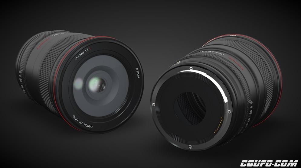 佳能(CANON)专业相机镜头 红圈镜头 17-40mm镜头C4D模型