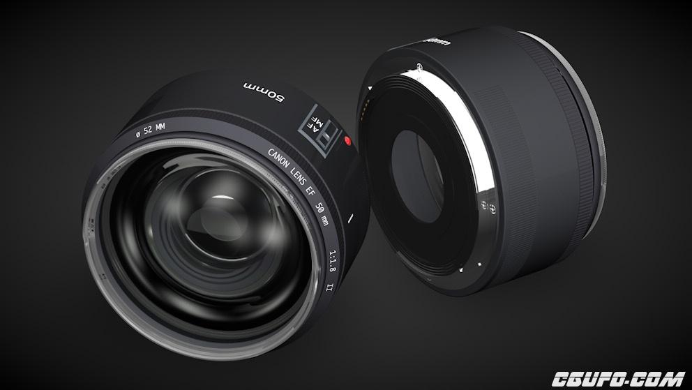 佳能50mm镜头 专业相机镜头 CANON标头C4D模型 Lens 50mm