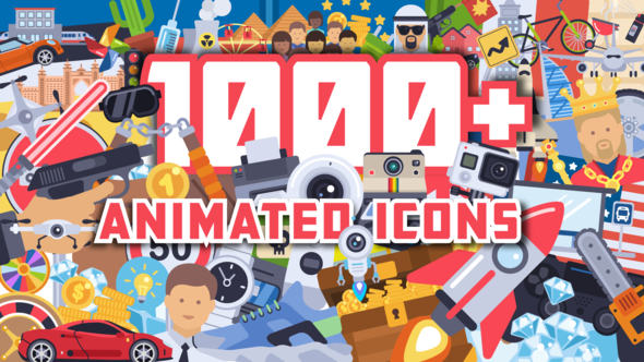 1000+ Flat Animated Icons Pack AE模板-1000+扁平化动态ICON图标MG动画