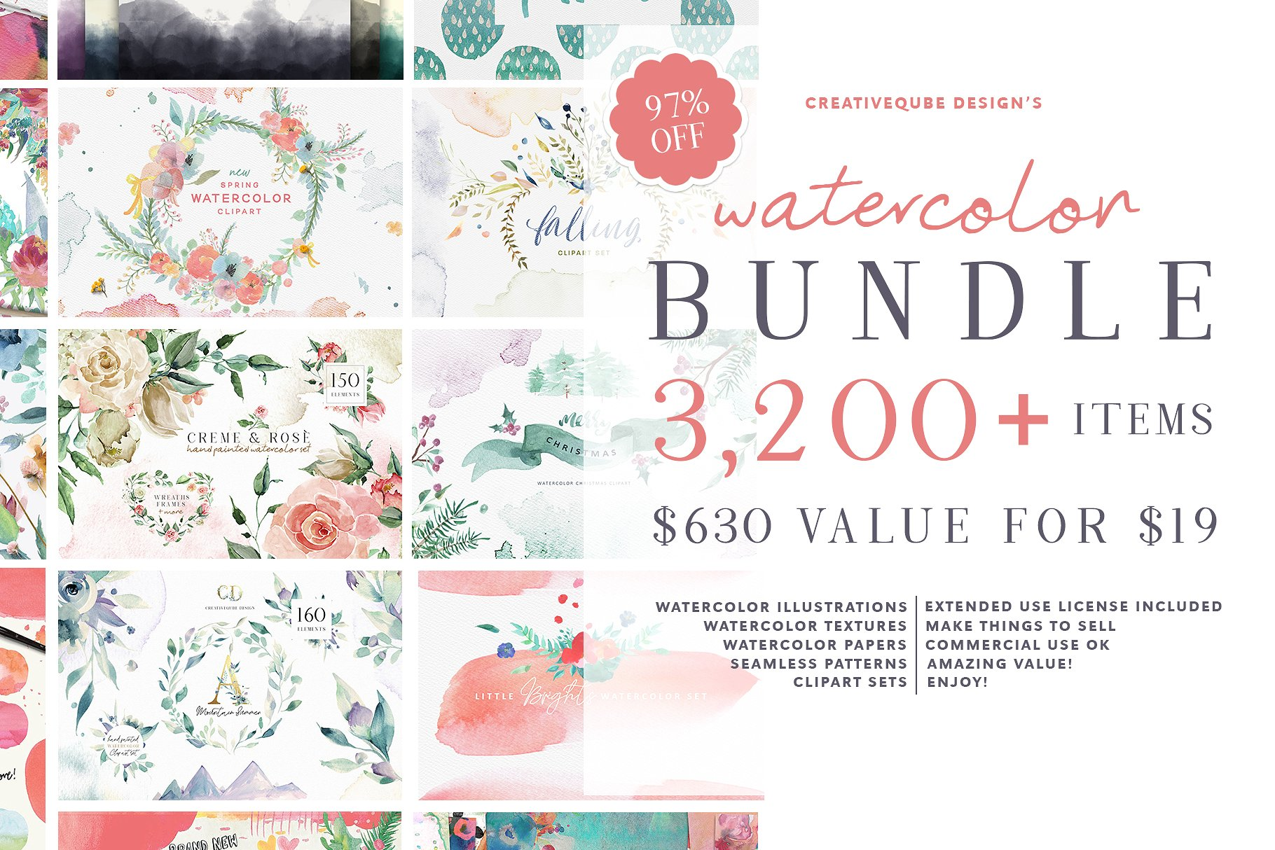 Watercolor Graphics Bundle 2750647 更新2018/08