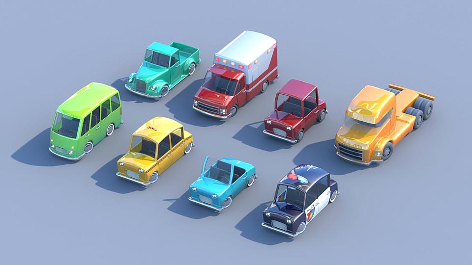 Cubebrush - Toycar Pack 8辆卡通玩具汽车模型 Toycar Pack