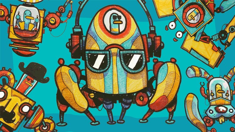 Cartooning for Beginners - How to Draw Cartoon Robots!
