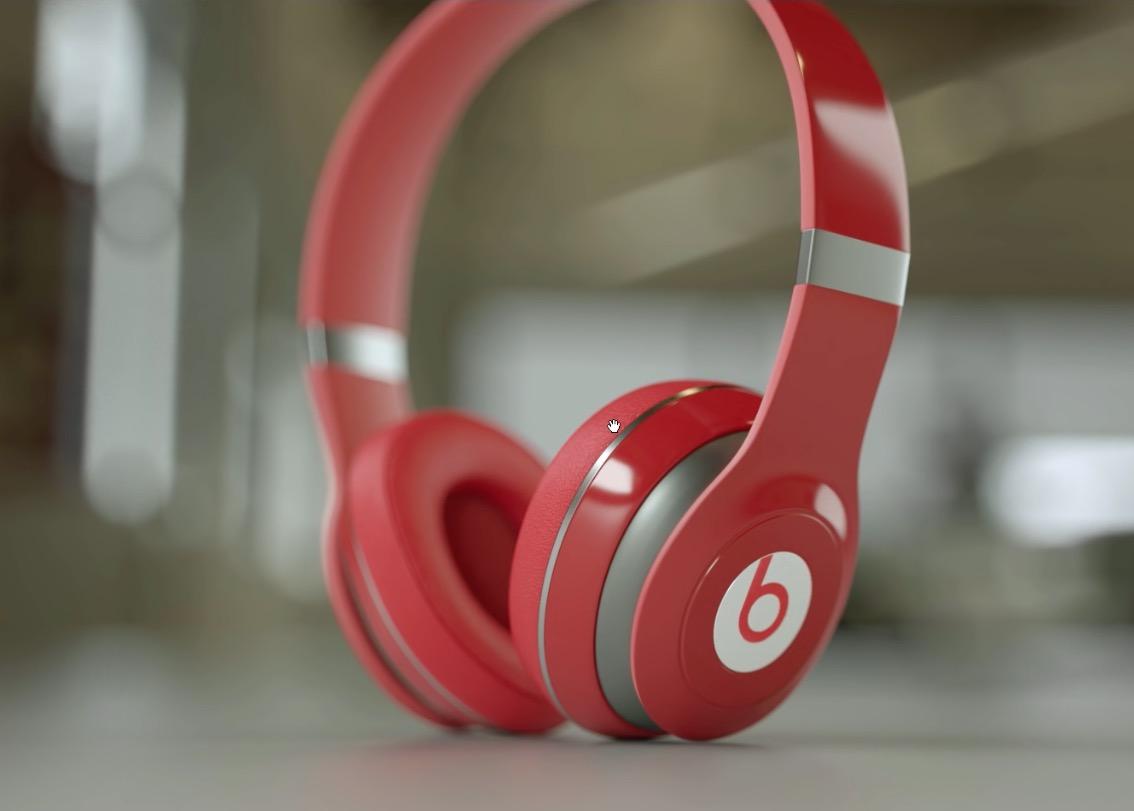 红色耳机C4D模型 Red headphones