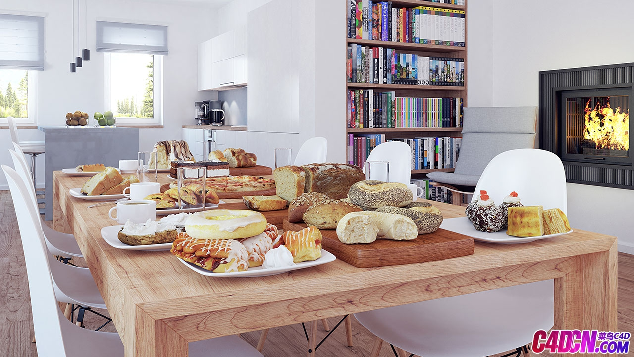 现代简约室内设计餐厅餐桌面包食物火炉灶台水果盘咖啡杯书房书架厨房整体效果
