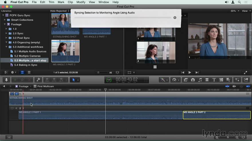 Lynda - Final Cut Pro X 专家教程:同步声音工作流程