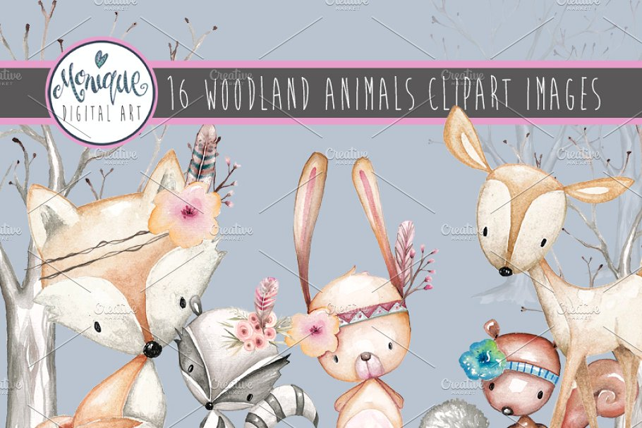 Woodland Animals Clipart Watercolor 1634984 水彩动物素材