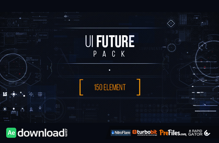 UI FUTURE PACK - HD Video Footage未来高科技简单线条UI动画HUD元素工具AE模板