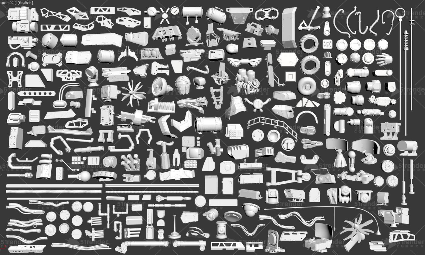 机械零部件3D模型 3DExport – 3D Kitbash – 268 metal piece parts