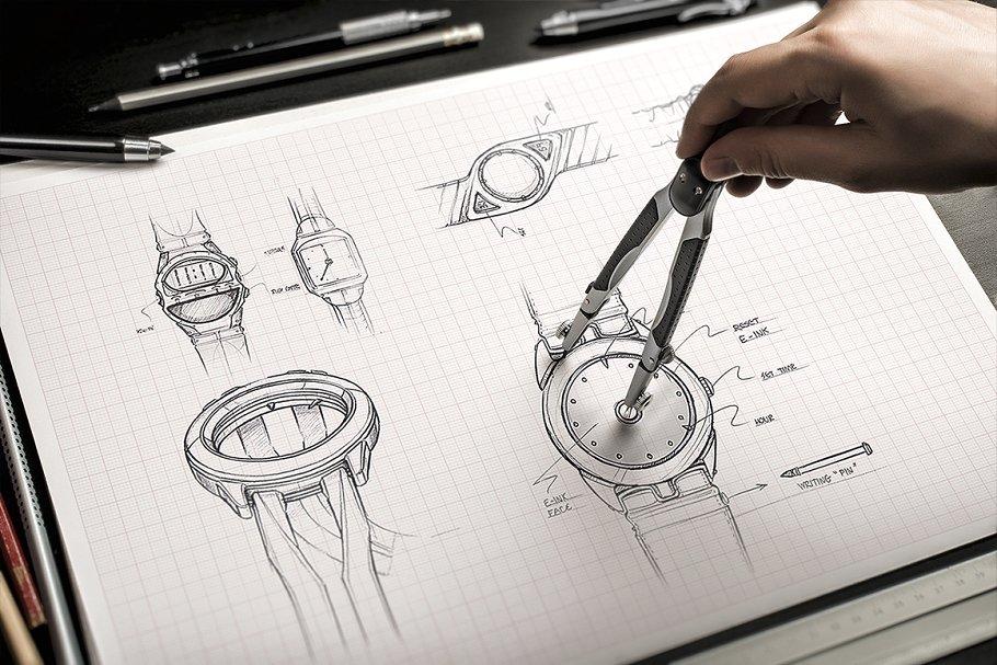 Sketch Hand Drawn Mockup Set 手绘纸张样机模板 手稿样机模版