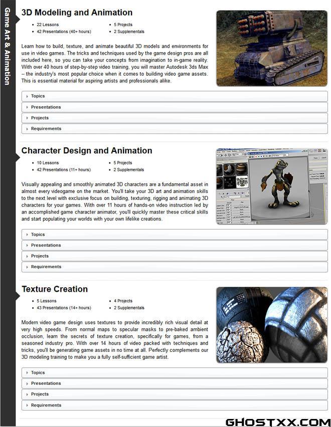 GameInstitute 网站的三维建模和动画教程