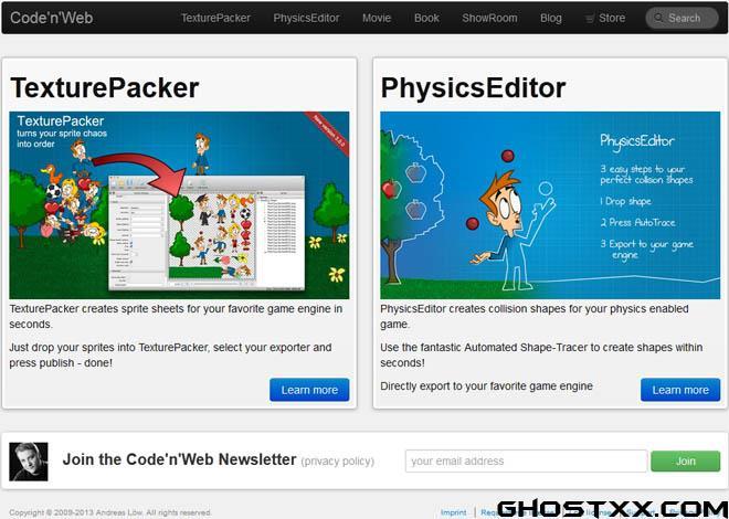 Code'n'Web - TexturePacker 和 PhysicsEditor 的官方网站