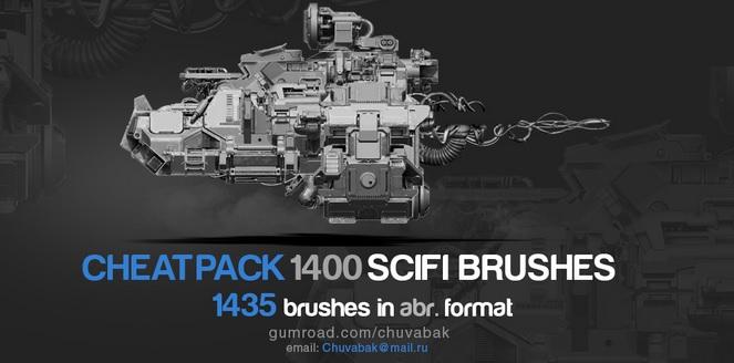 1400个科幻高科技机械零件PS笔刷合辑 Gumroad – 1400 Sci-Fi Brushes Photoshop ...