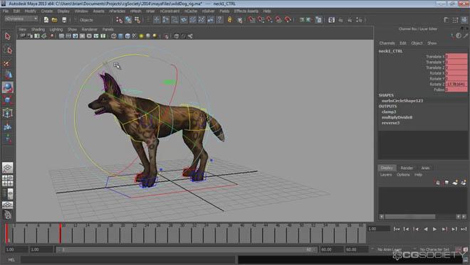Cgsociety - 用于游戏的四足动物绑定教程,实用软件:maya