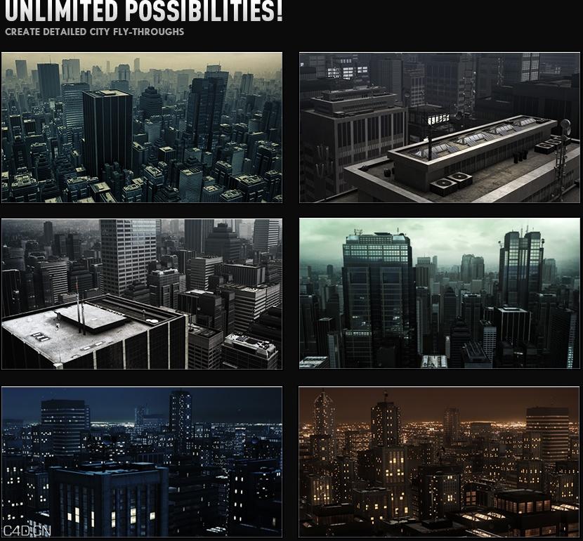 大都市白天与黑夜3D模型 Video Copilot – 3D Models: Metropolitan Pack – 3D City